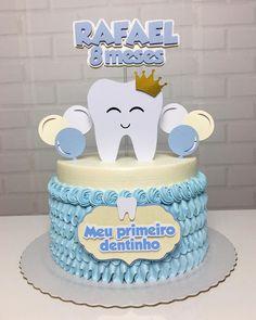 Cartoon Birthday Cake, Boy Birthday, Baby Boy Cakes, Cakes For Boys, Bolo Flash, Dentist Cake, Tooth Cake, Panda Cakes, Baby Boy Photography