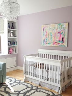 Chandelier and rug are overwrought (I just think it would clash with a Sesame Street Play set) BUT I love the artwork over the crib. I think Cece and I may make some new art for her room when it goes through it's toddler transition (sooner than I want to think about).