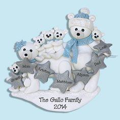 Polar Bear Family of 7 HANDMADE Polymer by PersonalizedOrnament