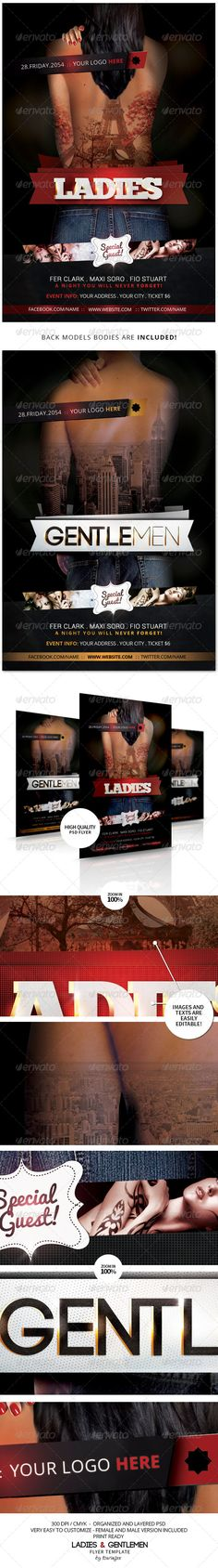 Ladies & Gentlemen Flyer Template / $6. *** This flyer is perfect for the promotion of Events, Club Parties, Concerts, Musicals, Shows, Festivals, Theaters, Promotions or Whatever You Want!.***