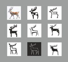 by Agnė Žiūkaitė / deer stylization / graphic design Graphic Design Branding, Graphic Design Art, Logo Design, Animal Symbolism, Deer Art, Christmas Icons, Principles Of Design, Collaborative Art, Animal Drawings