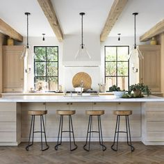 Home Wednesday Watch List / Gorgeous indoor/outdoor kitchen with wood beams, wooden island, and natu Kitchen Post, Big Kitchen, Kitchen Dining, Kitchen Ideas, Chef Kitchen, Wooden Kitchen, Kitchen Hacks, Country Kitchen, Dining Area