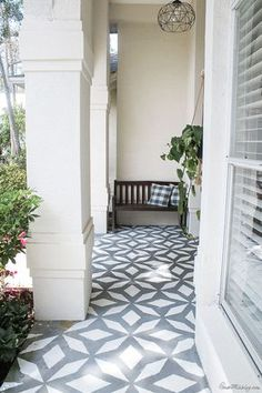 Porch makeover: I painted the walls, doors and floor! Front porch makeover with paint - stenciled floor with floor and porch paint Painted Porch Floors, Painted Concrete Porch, Painted Front Porches, Concrete Front Porch, Stencil Concrete, Porch Tile, Porch Paint, Farmhouse Front Porches, Porch Flooring