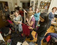 women swapping clothing