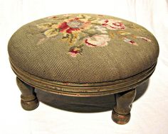 Vintage Round Wooden Footstool Floral Petit Point Uphostered Needlepoint Foot Rest Roses with Olive Green Background | Haute Juice