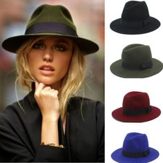 100% Wool Women Men Floppy Wide Brim Winter Autumn Trilby Bowknot Fedora  Hat in Clothing 5023bcc8cac
