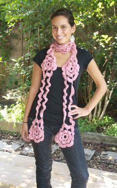 Bufanda de flores. Patrón a crochet. Modista c1397cae049f