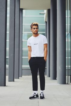 Get this look: http://lb.nu/look/7785798  More looks by Kevin Elezaj: http://lb.nu/kevinelezaj  Items in this look:  New Balance Sneakers, Montego Suit Pants, Blood Brother T Shirt, Asos Glasses