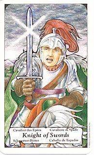 Hanson Roberts: Knight of Swords. Sometime when this guy shows up, he makes me laugh.