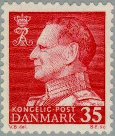 Stamp: King Frederik IX (Denmark) (King Frederik IX - Facing left) Mi:DK 412x,Sn:DK 387,Yt:DK 421,Sg:DK 437,AFA:DK 415