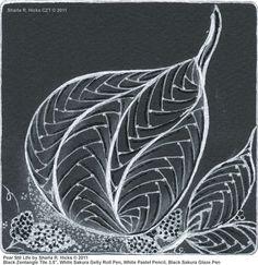 """Pear Still Life by Sharla R. Hicks © 2011, Black Zentangle Tile 3.5"""", White Sakura Gelly Roll Pen, White Pastel Pencil, Black Sakura Glaze Pen"""