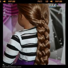 Four strand braided hairstyle for American Girl dolls and other dolls with long hair. BEAUTIFUL hairstyle for AG and Me! Link goes to step by step instructions! I will have to learn how to do this on my waist long hair as well! Ag Doll Hairstyles, American Girl Hairstyles, Braided Hairstyles, Dolls With Long Hair, Braids For Long Hair, My American Girl Doll, American Girl Clothes, Four Strand Braids, Ag Hair Products