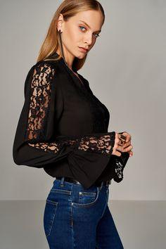 Siyah Dantel Detaylı Kadın Bluz TRENDYOLMİLLA | Trendyol