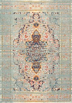 Blue vintage greatness with Rugs USA's Chroma CB23 Hazy Damask Medallion Mirage Rug!