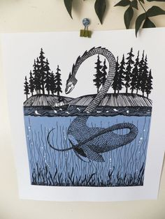 Loch Ness Monster Screen Print
