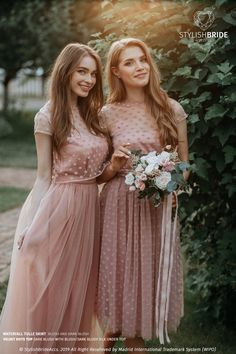 Bridesmaids Polka Dots Tulle Separates: Polka Dots Dark Blush/Blush Tulle Skirt with Dotted Tulle Crop Top + Silk Under Top = 3 pieces set Luxury Wedding Dress, Tulle Wedding, Wedding Bridesmaids, Short Dresses, Prom Dresses, Formal Dresses, Wedding Dresses, Navy Dress Outfits, Fashion Dresses