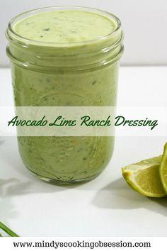 Avocado Lime Ranch Dressing combines avocados, lime juice, yogurt, mayo, milk and Hidden Valley Ranch dressing mix to make this versatile dressing.
