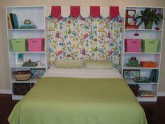 cabecero cama infantil cortina pajaritos