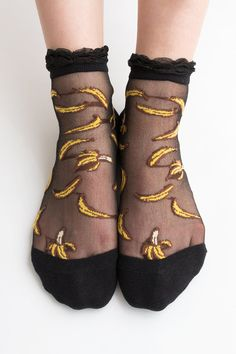 Women Brand New Hezwagarcia Cute Banana Fruits Pattern Black Sheen Lace Ruffle Frill Nylon Sheer See Through Ankle Socks