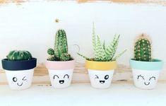 Idea Of Making Plant Pots At Home // Flower Pots From Cement Marbles // Home Decoration Ideas – Top Soop Cactus Pot, Cactus Flower, Flower Vases, Suculentas Diy, Cactus Y Suculentas, Painted Plant Pots, Painted Flower Pots, Flower Pot Crafts, Clay Pot Crafts