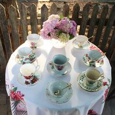 tea with different patterned teacups♥