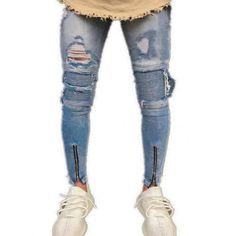 dc3e70adc69f NIBESSER Knee Holes Ripped Jeans Men 2019 Brand Designer Slim Fit Washed  Destroyed Jeans Hi-