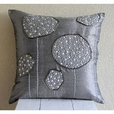 Decorative Throw Pillow Covers 16x16 Gray Silver by TheHomeCentric, $26.20