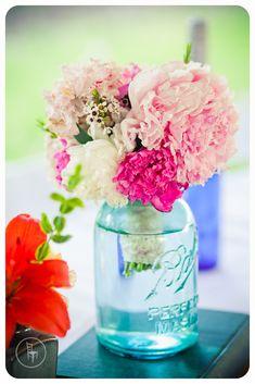 Peony bouquet and blue mason jar