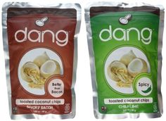 Dang Gluten Free Vegan Toasted Coconut Chips 2 Flavor Variety Bundle: (1) Dang Savory Bacon Toasted Coconut Chips, and (1) Dang Chili Lime Toasted Coconut Chips, 2.82 Oz. Ea. (2 Bags Total)