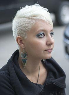 beautiful platinum blonde shaved side hair tattoos chatters kelowna westbank