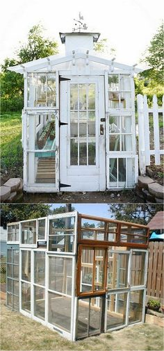 12 amazing DIY sheds : how to create beautiful backyard offices, studios and greenhouses with reclaimed windows and other materials. - A Piece Of Rainbow shed design shed diy shed ideas shed organization shed plans Small Greenhouse, Greenhouse Plans, Portable Greenhouse, Greenhouse Wedding, Old Window Greenhouse, Backyard Greenhouse, Backyard Sheds, Outdoor Sheds, Shed Design