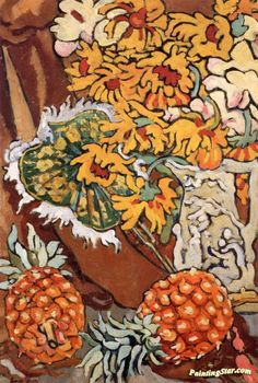 Vase Of Flowers With Fan Artwork by Louis Valtat