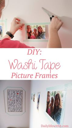 Washi Tape picture frames are safe for the walls and totally cute! Super easy DIY.