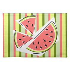 #stripes - #Watermelon Pieces Stripe placemat cloth