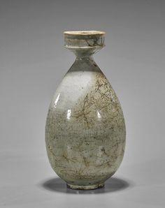 "Antique Korean celadon glazed ceramic vase; of yuhuchunping form with waisted rim ; H: 11"""