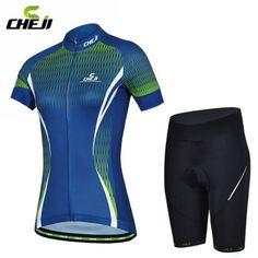 2017 CHEJI NEW Blue Cycling Women Sports girls Ropa Ciclismo Jersey + Shorts Bike wear Clothing Size S-XXL #Affiliate