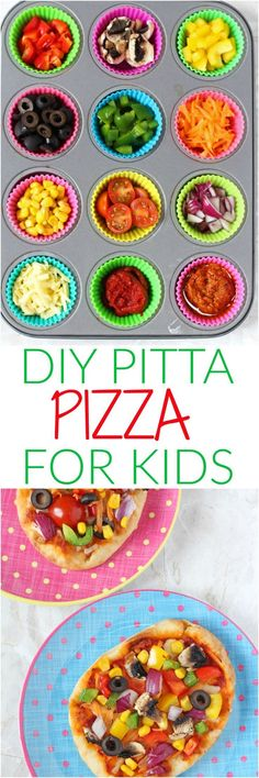 Get the kids involved in making their own meals with these super easy DIY Pitta or Naan Bread Veggie Pizzas! | My Fussy Eater blog