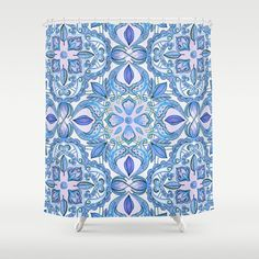 Colored Crayon Floral Pattern in Teal & White Shower Curtain by micklyn