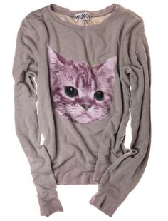 Stay Warm with Wildfox Couture's Cat Sweatshirt at Refinery29 | Catster
