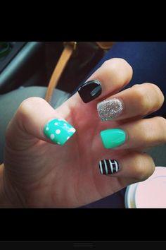 torquise nails.