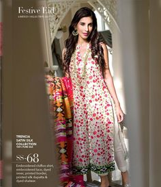 Gul Ahmed Trencia Satin Silk Festive Collection 2015 SS-68