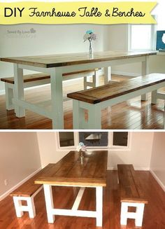 How to build a farmhouse table and benches rustic decor woodworking plans @savedbyloves