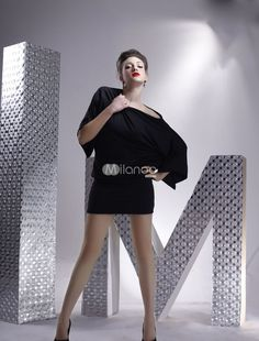 This is a black mini dress with a sultry one shoulder design. Category: / Women's Clothing / Clubwear / Club Dresses