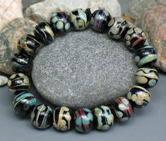 SJC Lampwork 18 handmade silver glass round beads ~SRA~ USA~ #SJCLampwork #Lampwork