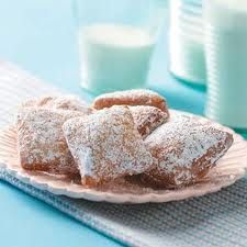 New Orleans Beignets - These sweet French doughnuts are square instead of round and have no hole in the middle. This beignet recipe is a traditional part of breakfast in New Orleans. —Beth Dawson, Jackson, Louisiana l Potluck Recipes, Appetizer Recipes, Dessert Recipes, Desserts, Donut Recipes, Copycat Recipes, Fall Recipes, Holiday Recipes, Breakfast Recipes