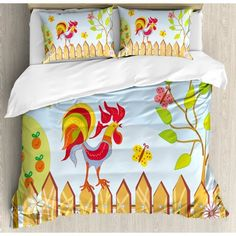Ambesonne Farmhouse Border with Rooster Tree Butterfly and Flowers in Summer Kids Cartoon Print Duvet Cover Set Size: King Duvet Cover Sets, Comforter Sets, Ruffle Bedding, Country Farmhouse Decor, Cartoon Kids, Summer Kids, Bed Pillows, Rooster, Butterfly