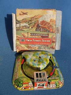 RARE Boxed Mettoy Tin Twin Tunnels Train and Aircraft Toy C1950
