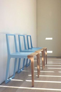 cool furniture design: half colored chairs by Branca-Lisboa's designer Marco Sousa Santos Chair Makeover, Furniture Makeover, Cool Furniture, Painted Furniture, Modern Furniture, Furniture Design, Luxury Furniture, Furniture Outlet, Industrial Furniture