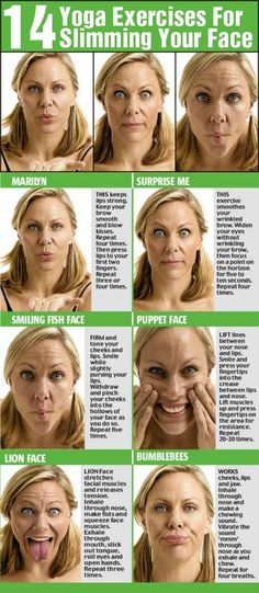 Have you heard of yoga facial exercises? While some people would think it's ridiculous to exercise your face, it's actually necessary if you want to keep it taut and firm. These exercises not only help in getting rid of lines and wrinkles but also in slim Yoga Facial, Facial Muscles, Face Facial, Face Skin, Facial Hair, Fitness Del Yoga, Fitness Tips, Health Fitness, Workout Fitness