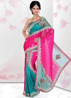 Sizzling Crystals Enhanced Ready Pleated Saree